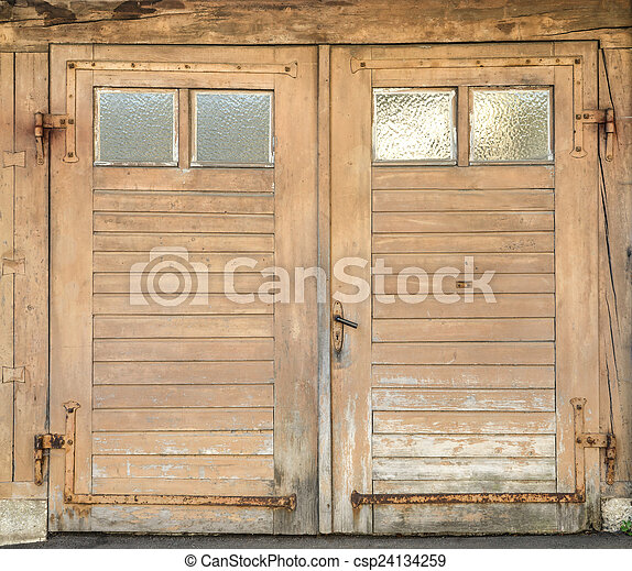 Old Garage Door With Four Windows Old Light Brown Dirty And