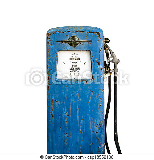 Old gas pump isolated on white background - csp18552106
