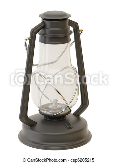 Old Gasoline Lamp Isolated On A White Background