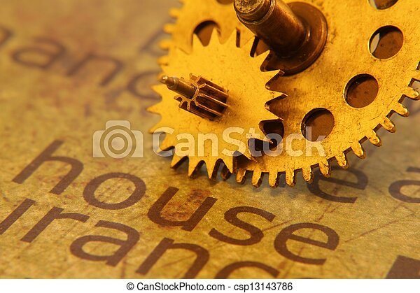 Old gear on home text concept - csp13143786