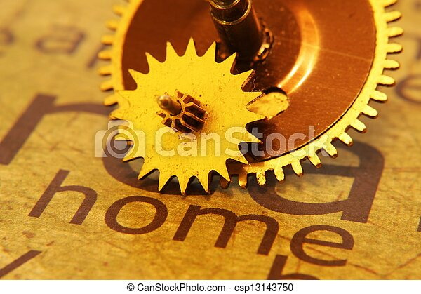 Old gear on home text concept - csp13143750
