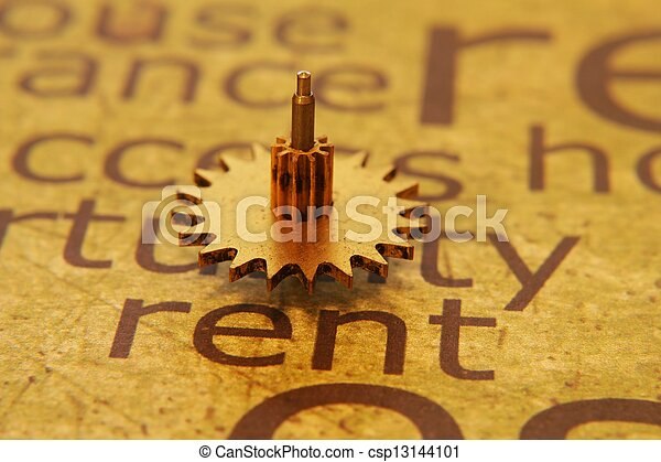 Old gear on rent text concept - csp13144101
