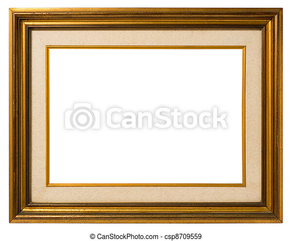 Old gilt wood frame. Antique double frame: gilded wood and canvas ...