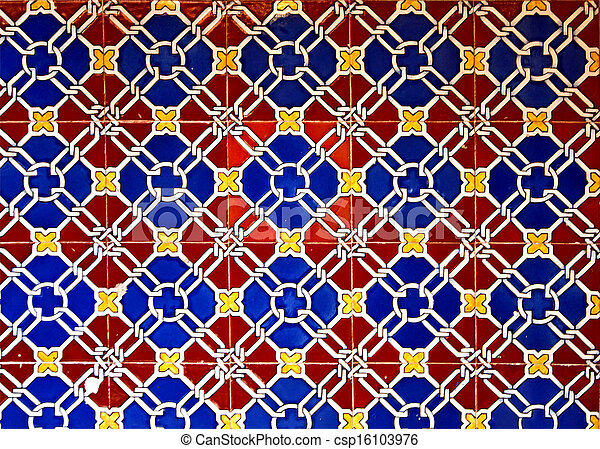 Old glazed ceramic tiles italian style. Artistic pattern of ...