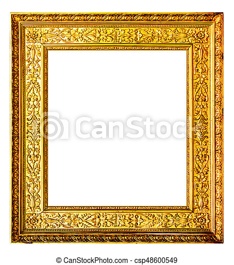 Old gold frame isolated on white background.