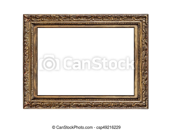 fb381a9ae4d Old golden frame. Very old golden frame isolated on white background.