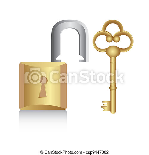 old golden key with gold lock  - csp9447002
