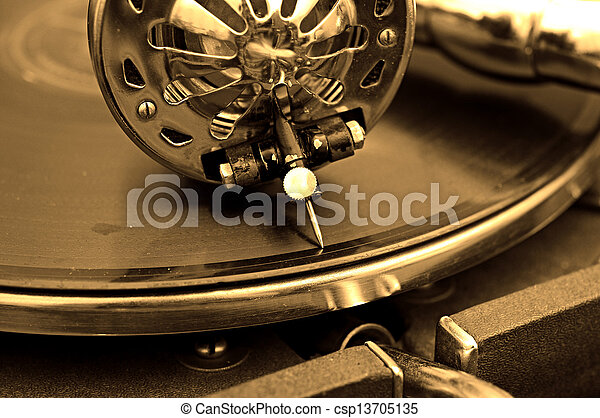 Old gramophone and old records - csp13705135