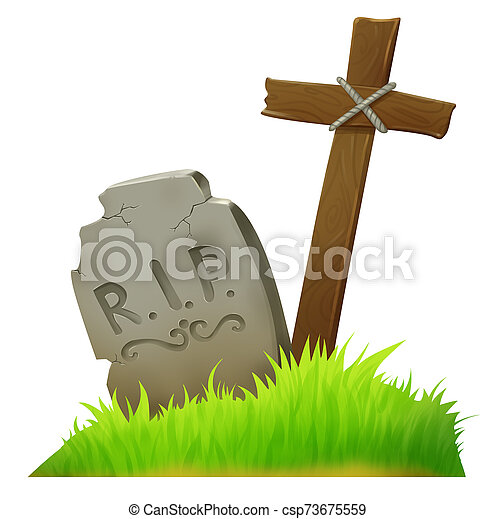 Old grave in the cemetery. Cross. Grass. - csp73675559