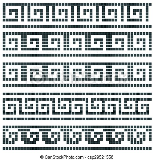 Old Greek Mosaic Border Designs Clipart Vector - Search