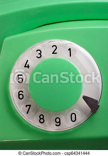 Old Green Rotary Telephone - csp64341444