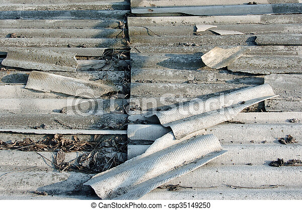 Old grey roof tiles, top view - csp35149250