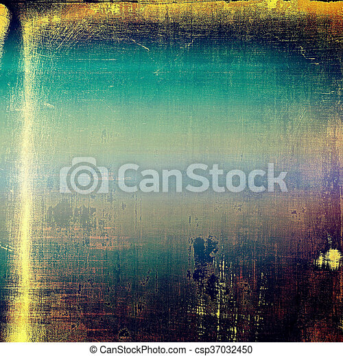 Old grunge background or aged shabby texture with different color patterns: yellow (beige); brown; blue; purple (violet); black - csp37032450