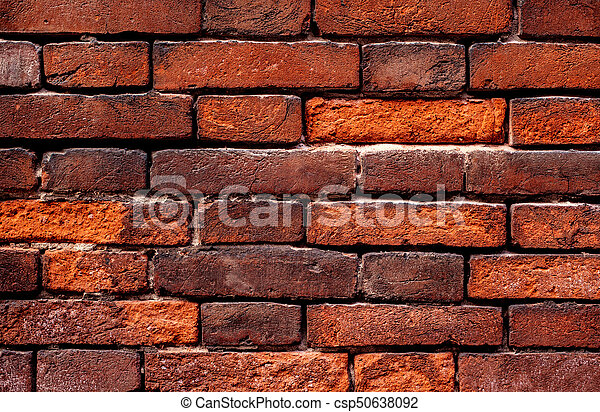 Old Grunge Brick Wall Background Red Color Close Up Vintage Textured Brick Backdrop
