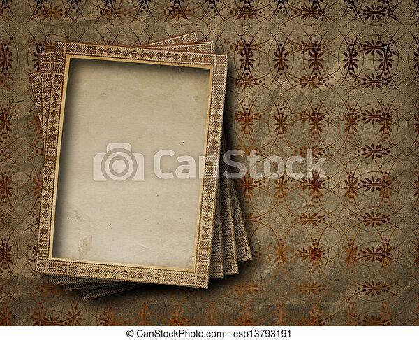 Old grunge frames on the ancient paper background stock illustration ...