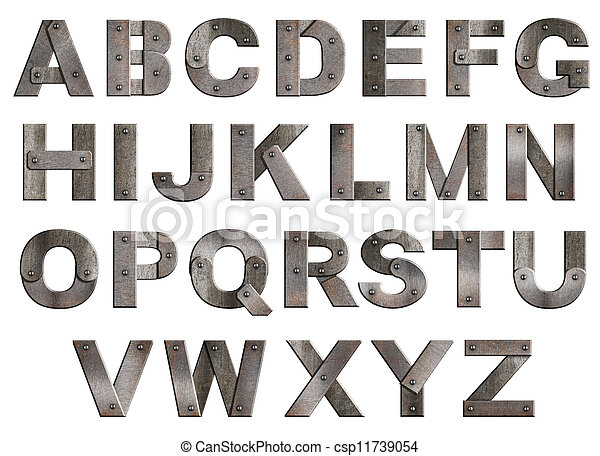 Old grunge metal alphabet letters isolated on white - csp11739054