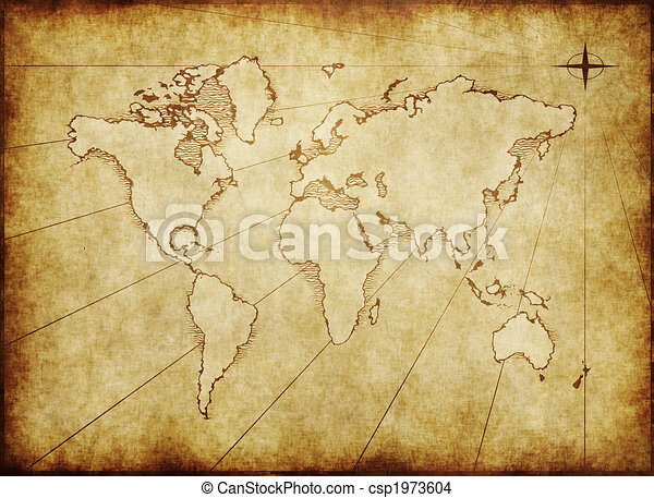 Old grungy world map on paper an old world map drawn onto old grungy world map on paper csp1973604 gumiabroncs Gallery