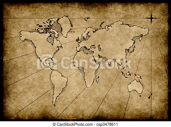 Old grungy world map an old world map drawn onto parchment paper old grungy world map csp3478611 gumiabroncs Images