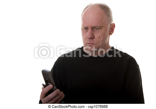 Old Guy Confused at Phone or Wrong Number - csp1078988