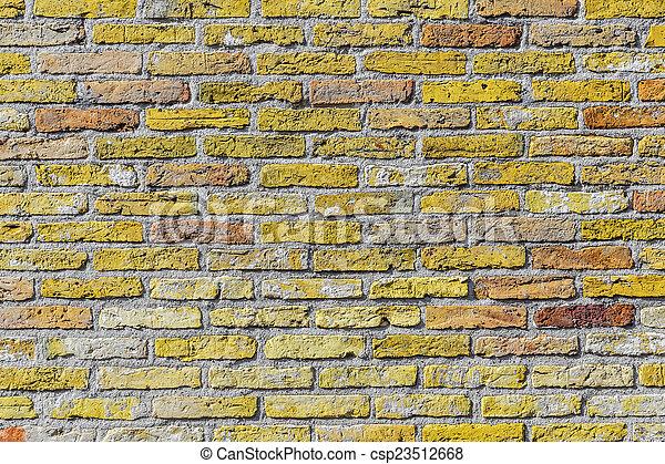 old harmonic brick wall background - csp23512668