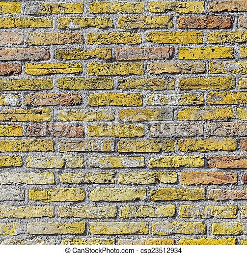old harmonic brick wall background - csp23512934
