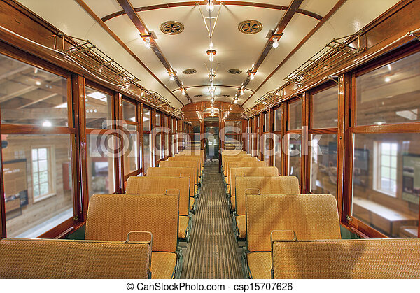 Old Historic Restored Tram Public Section - csp15707626
