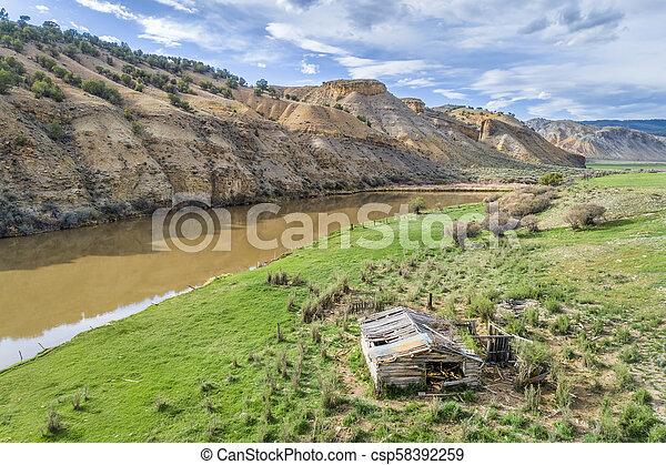 old homestead on a shore of Colorado River - csp58392259
