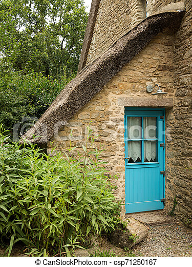 old house in saint lyphard with a thatched roof - csp71250167