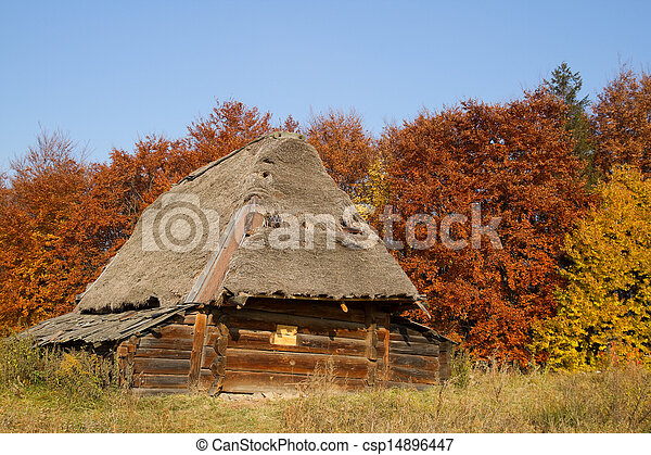 Old house with a thatched roof - csp14896447