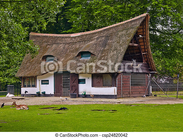old house with a thatched roof - csp24820042