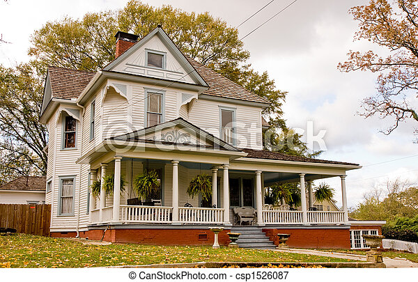 Old House with Plants on Porch - csp1526087