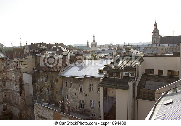 Old houses in the center of Lviv - csp41094480