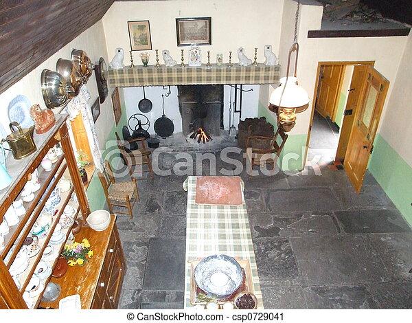 Old Irish Kitchen 19th Century Irish Kitchen Located In West Of Ireland Canstock