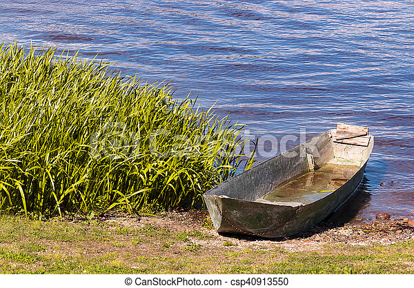 Old Iron Boat in the Lake of Mantova - csp40913550