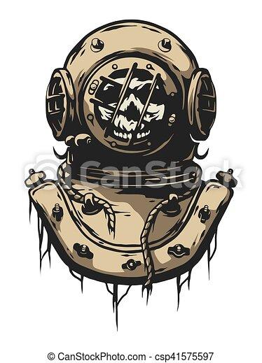 Old Iron Diving Helmet Vector Illustration