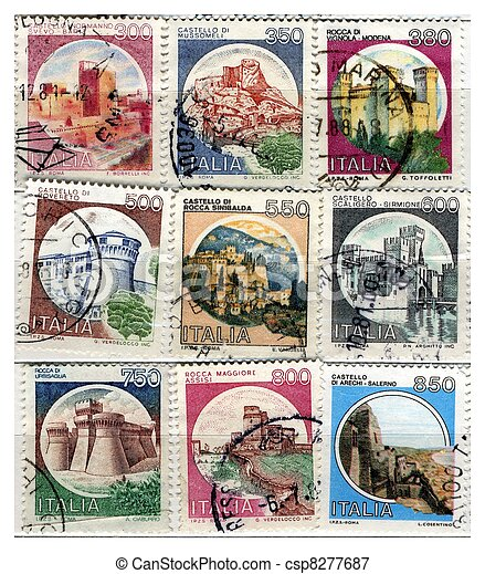 old italian post stamps castles