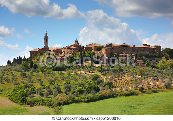 Old italian town on top of hill in Tuscany - csp51208816