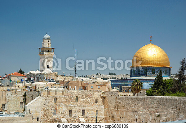 Old Jerusalem view - wailing wall and golden dome of Omar mosque,Israel - csp6680109