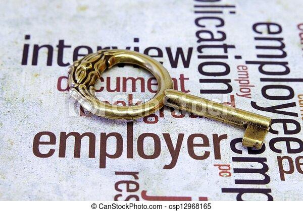 Old key on employer text - csp12968165