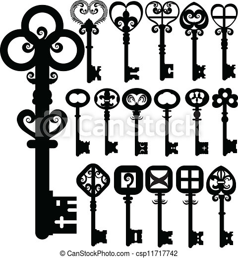 Old keys silhouettes vector design - csp11717742