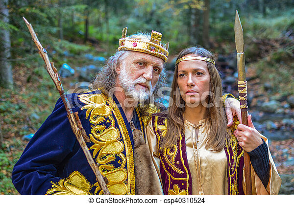 Old king and queen in the forest - csp40310524
