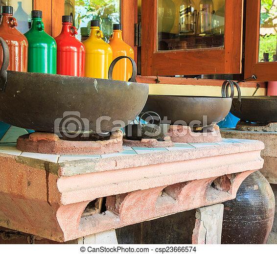 Old Kitchen Ancient Kitchen Old Stove   Csp23666574