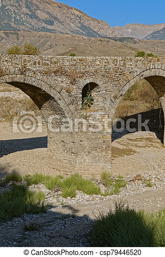 Old Kordhoce bridge from Ottoman period in Albania - csp79446520