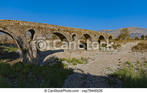 Old Kordhoce bridge from Ottoman period in Albania - csp79446526