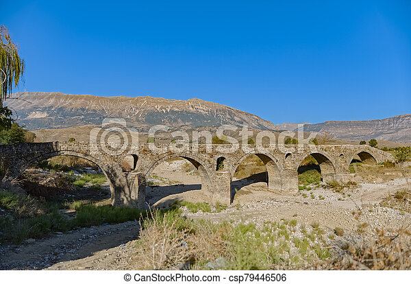 Old Kordhoce bridge from Ottoman period in Albania - csp79446506