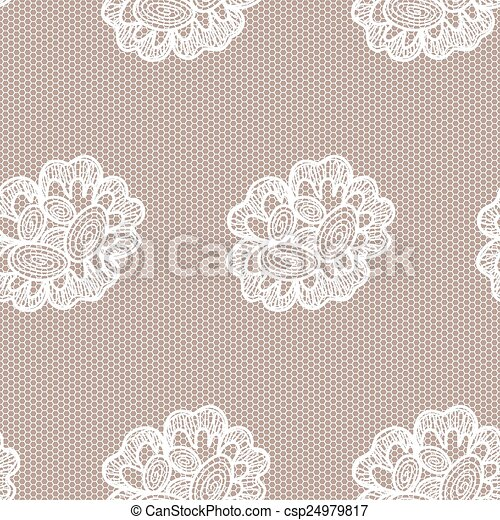 Old Lace Background Ornamental Flowers Vector Realistic Texture