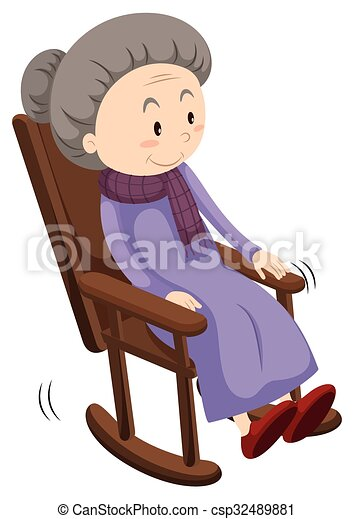 Old Lady On Rocking Chair Vector