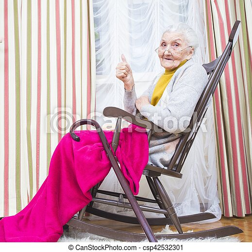 Old lady thumbs up - csp42532301  sc 1 st  Can Stock Photo & Old lady thumbs up. Happy elderly lady in a chair giving thumbs up.