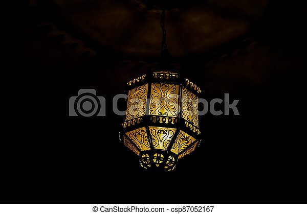 old lamp on the wall, photo as background - csp87052167