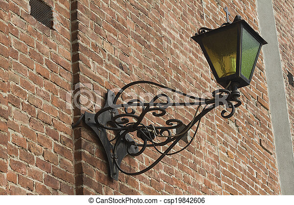 old lamp on the wall - csp19842606